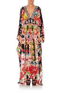 LONG KAFTAN WITH WAISTBAND PAINTED LAND