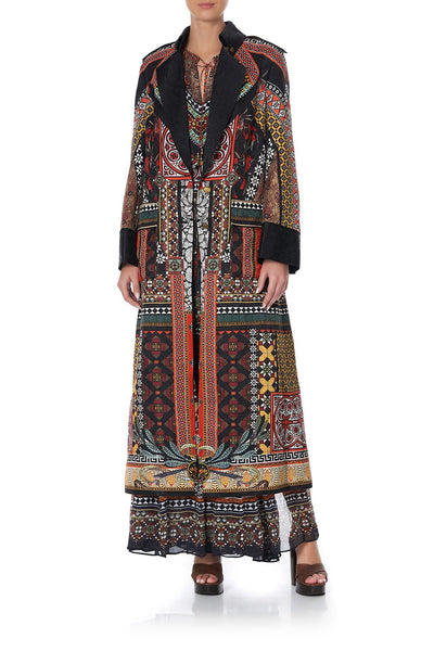 LONG MILITARY COAT PAVED IN PAISLEY