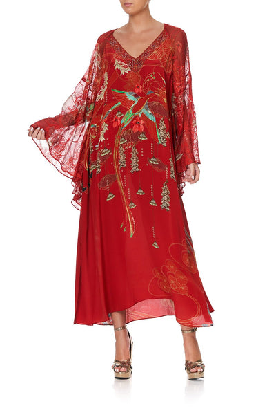 LONG RAGLAN SLEEVE FLARED KAFTAN FORBIDDEN FRUIT