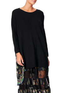 CAMILLA LONG SLEEVE JUMPER WITH PRINT BACK REBELLE REBELLE