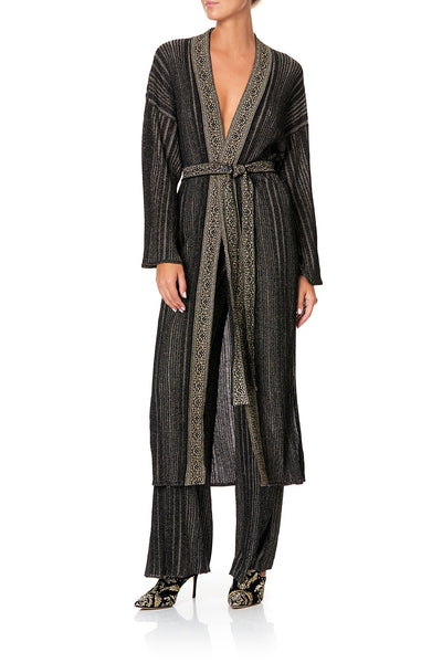 CAMILLA METALLIC KNIT CARDI WITH TIE REBELLE REBELLE