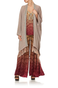 METALLIC KNIT PONCHO WITH TASSELS COASTAL TREASURE