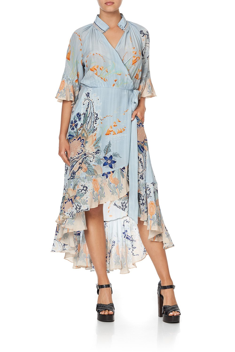 MIDI WRAP DRESS WITH RAGLAN SLEEVE FRASER FANTASIA
