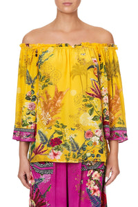 OFF SHOULDER FLARE BLOUSE SAFFRON MOON
