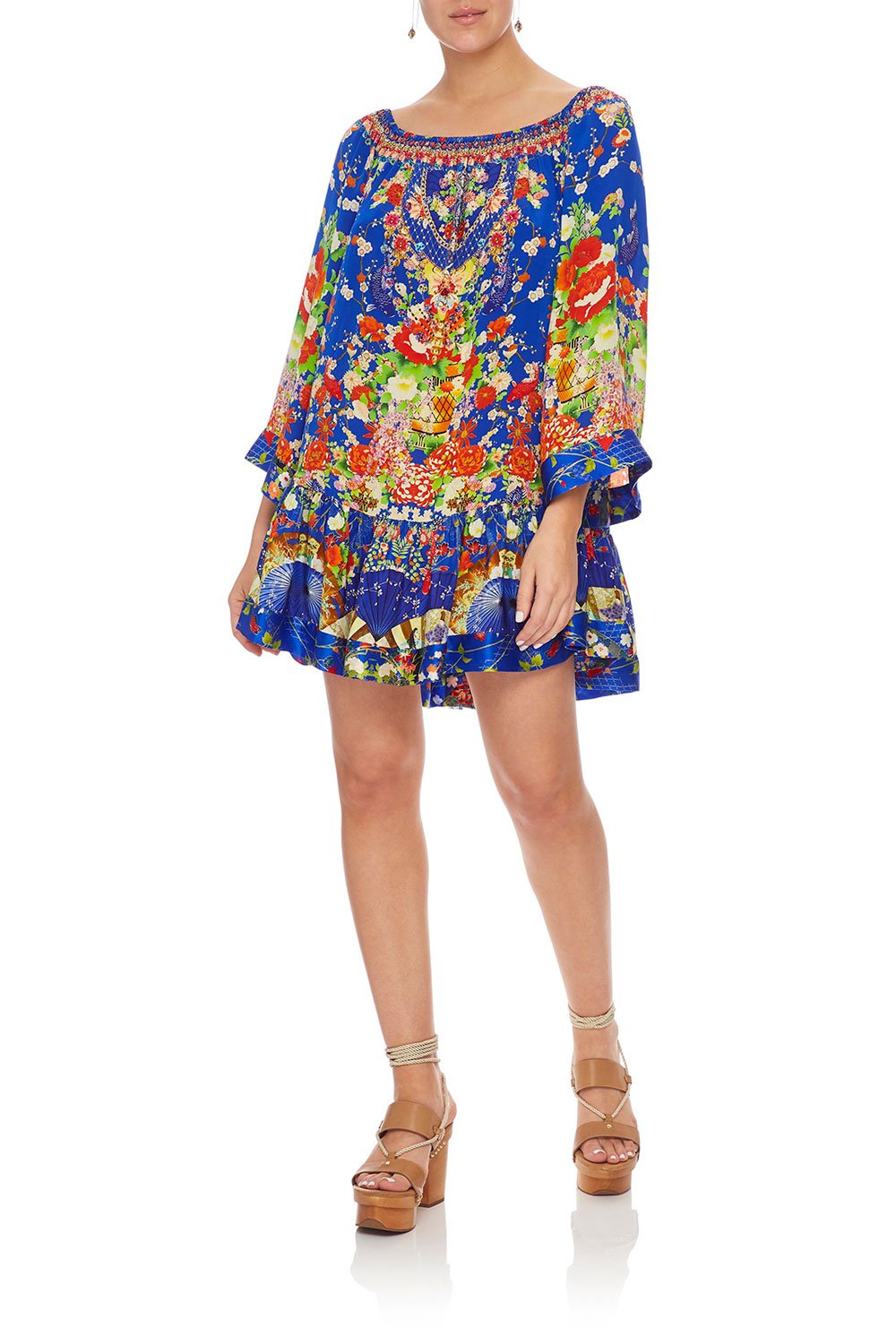 CAMILLA OFF SHOULDER FRILL HEM DRESS PLAYING KOI
