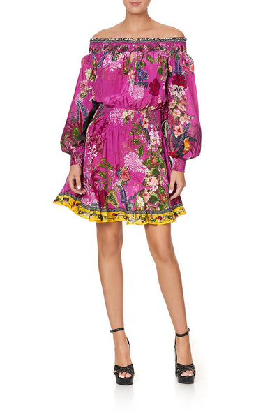 OFF SHOULDER SHORT DRESS JUNGLE LANGUAGE