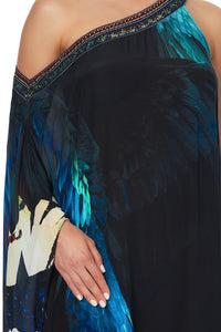 ONE SHOULDER KAFTAN WITH NECKBAND NIGHT FLIGHT