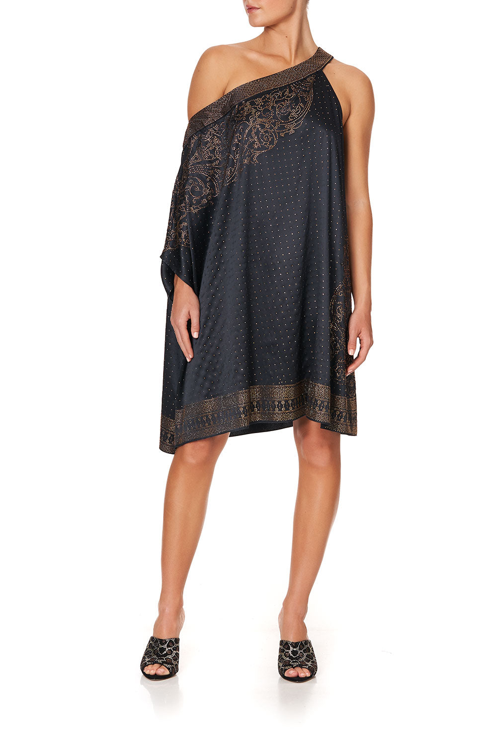 ONE SHOULDER SHORT KAFTAN LUXE BLACK