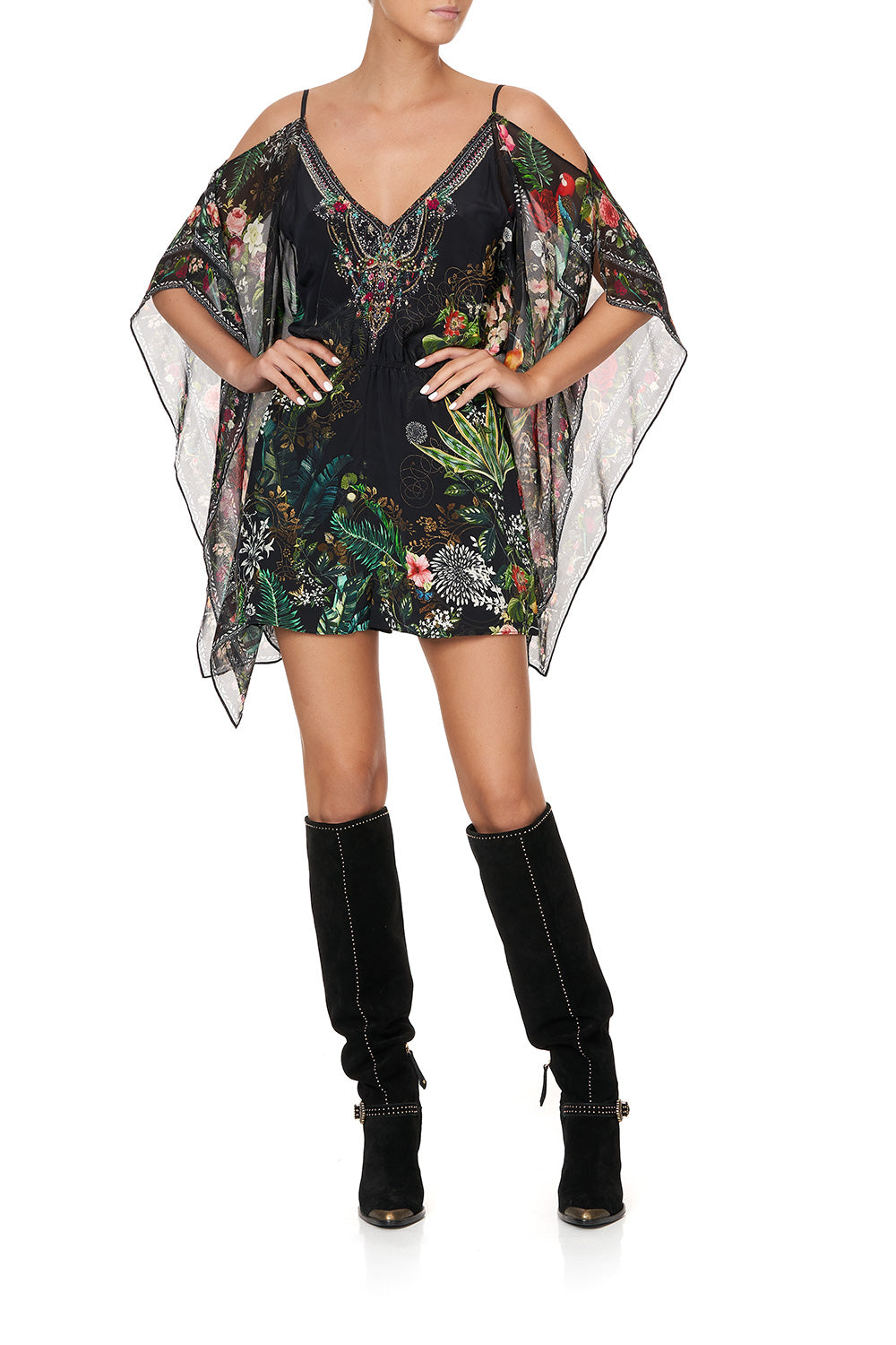 PLAYSUIT WITH SCARF SIDE RAISED WITH WOLVES