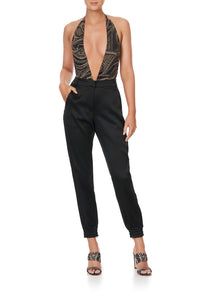 PLUNGE V GATHERED HALTER BODYSUIT STUDIO 54