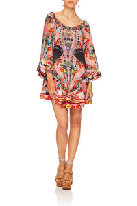 CAMILLA POSTCARDS FROM MARS OFF SHOULDER FRILL HEM DRESS