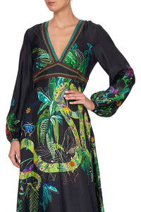PRINTED LANTERN SLEEVE DRESS RIVER CRUISE