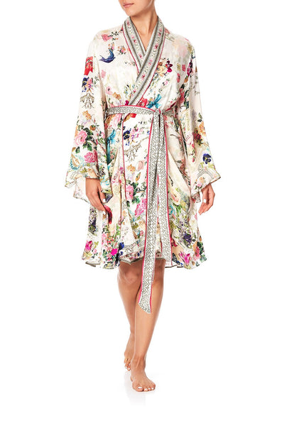 SLEEPWEAR FLARED SLEEVE DRESSING GOWN JARDIN POSTCARDS