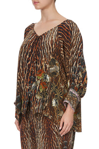 RAGLAN SLEEVE BUTTON UP TOP WILD AZAL