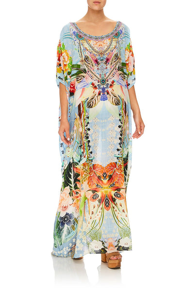 CAMILLA THE STILL ABYSS ROUND NECK KAFTAN