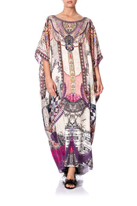 ROUND NECK KAFTAN VIOLET CITY