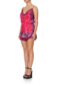 V-NECK LACE PLAYSUIT TROPIC OF NEON