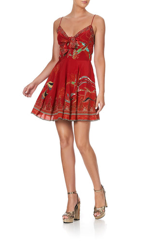 SHORT DRESS WITH TIE FRONT FORBIDDEN FRUIT