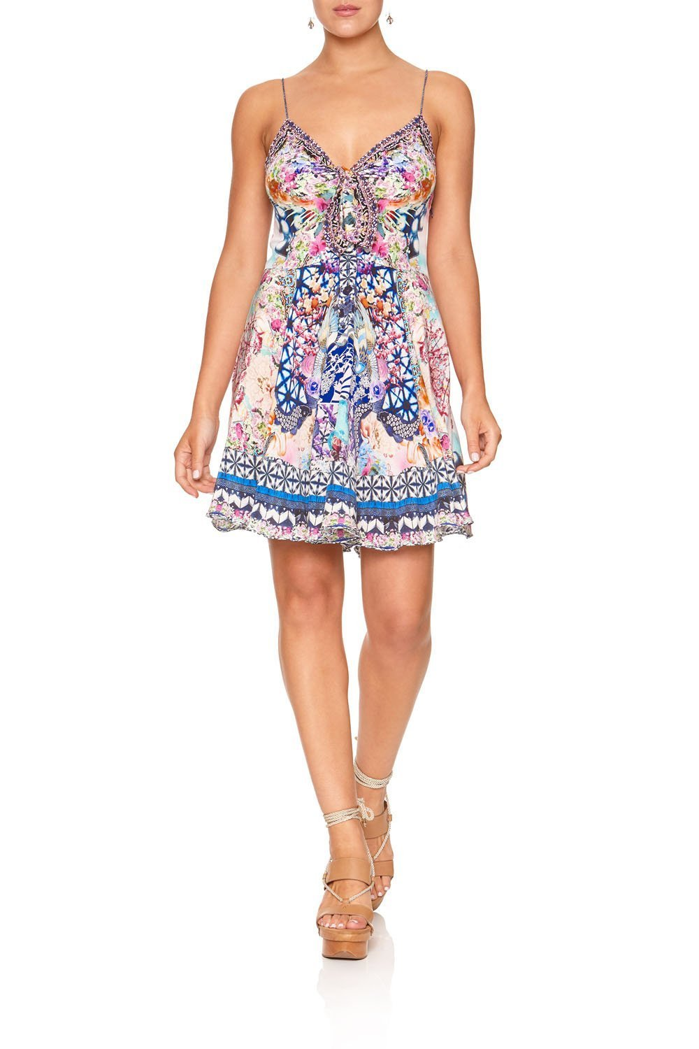 SHORT DRESS WITH TIE FRONT SHIBORI SHORES