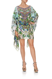 SHORT KAFTAN WITH SHEER SLEEVES MOON GARDEN