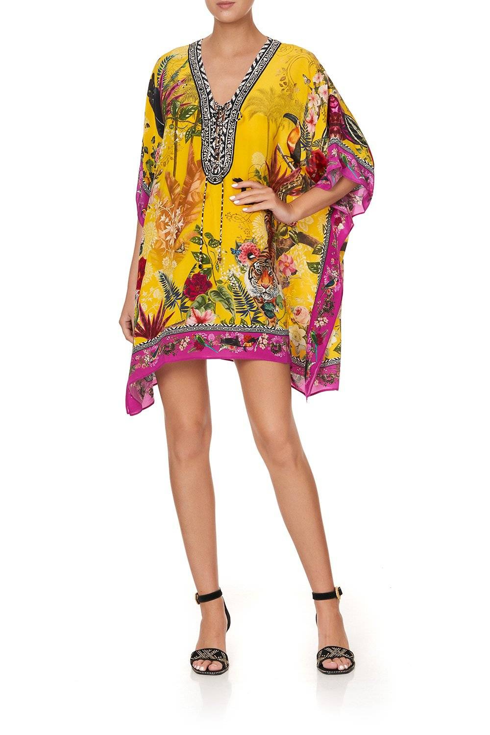 SHORT LACE UP KAFTAN SAFFRON MOON