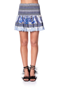 SHORT SHIRRED SKIRT PAINTED PROVINCIAL