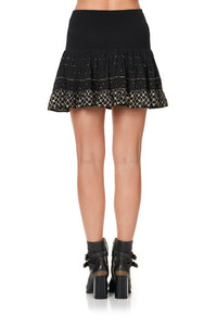 SHORT SHIRRED SKIRT THE JEWELLED ARROW