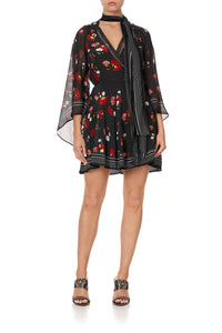 SHORT WRAP DRESS WITH NECK TIE COASTAL PARISIENNE