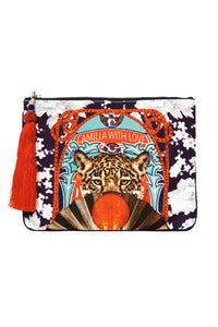 SMALL CANVAS CLUTCH LEOPARD FAN