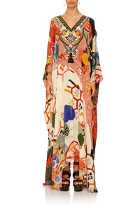 CAMILLA KISSING THE SUN SPLIT FRONT AND SLEEVE KAFTAN