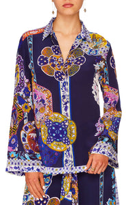 CAMILLA STAR GAZER BUTTON DOWN SHIRT W CONTRAST
