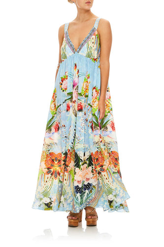 CAMILLA THE STILL ABYSS STRAP DRESS W/ GATHERED WAIST