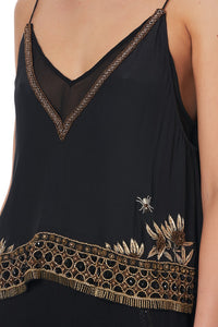 STRAP TOP WITH SHEER UNDERLAY BOTANICAL CHRONICLES