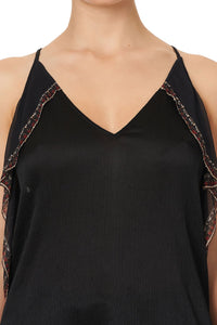 STRAP TOP WITH RUFFLE MIRROR MIRROR