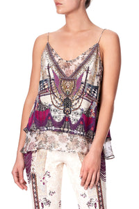 STRAP TOP WITH SHEER UNDERLAY VIOLET CITY