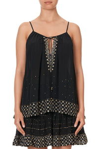 STRAP TOP WITH TIE FRONT DETAIL THE JEWELLED ARROW