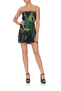 STRAPLESS PLAYSUIT WAIST TIE RIVER CRUISE