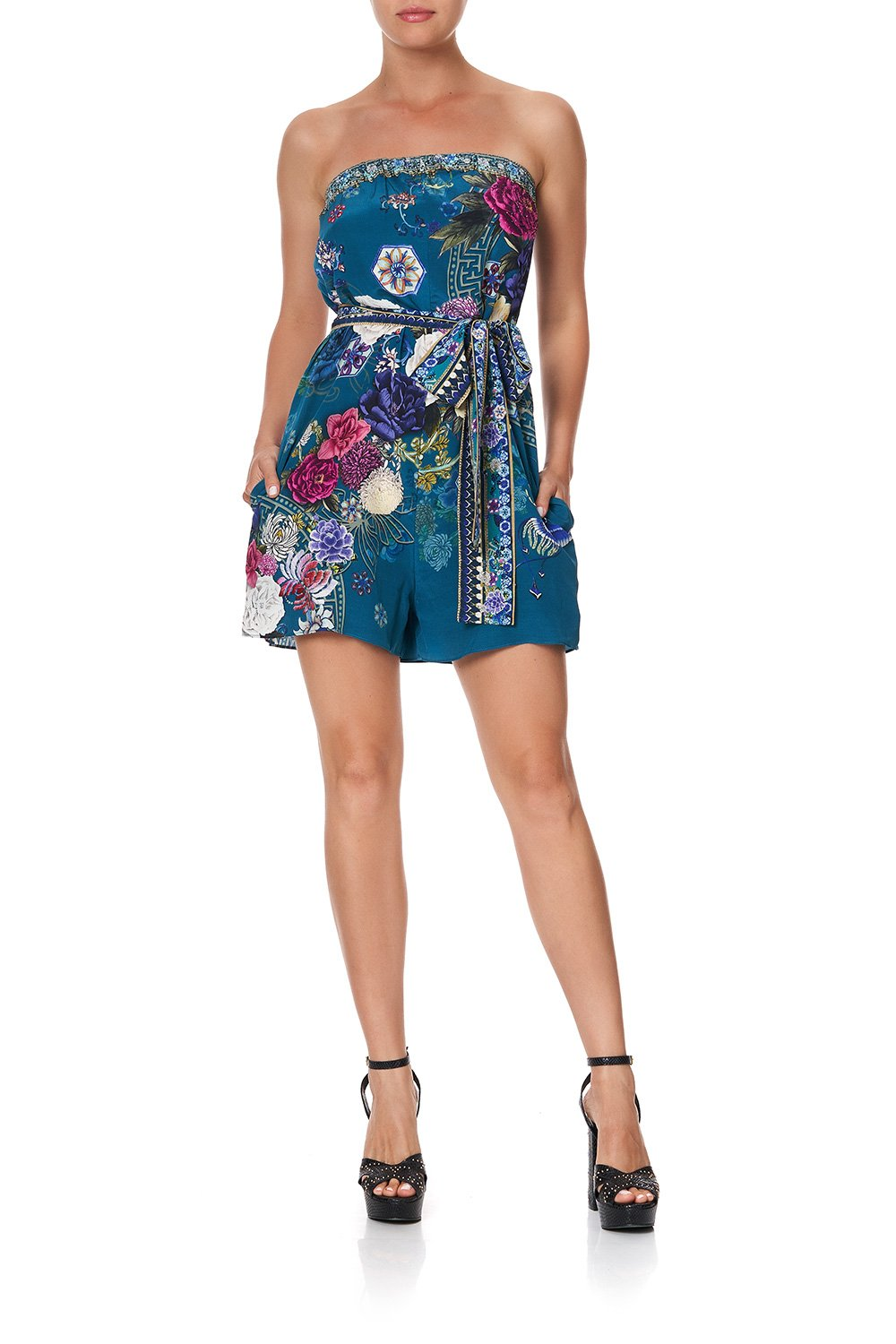 STRAPLESS PLAYSUIT WITH WAIST TIE LUNAR GAZING