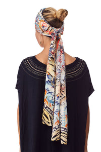 CAMILLA THE LONELY WILD KNITTED HEAD BAND W SILK SCARF