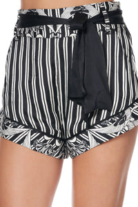 TIE DETAIL HIGH CUT SHORTS SILVER LININGS