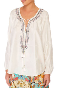 CAMILLA SOLID WHITE TIE FRONT HIGH LOW HEM BLOUSE
