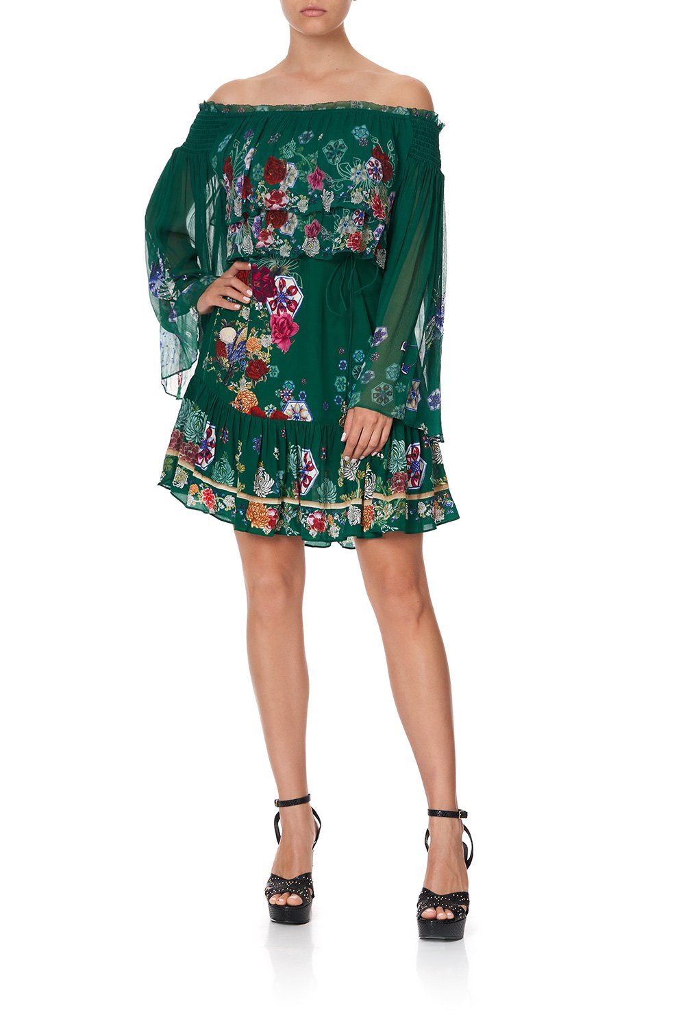 TIERED RUFFLE DRESS EMERALD'S ORBIT