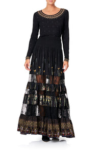 MAXI SKIRT WITH LACE INSERTS REBELLE REBELLE
