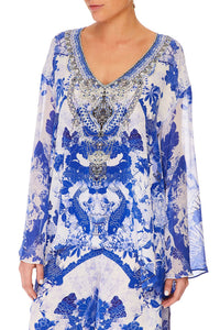 CAMILLA V-NECK A-LINE BLOUSE THE FAN SEA