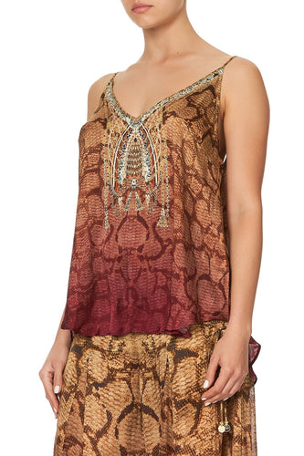 V NECK CAMI COASTAL TREASURE