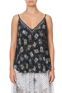 V NECK CAMI MIDNIGHT MOON HOUSE