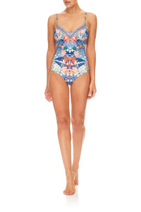 CAMILLA FARAWAY FLORALS V-NECK ONE PIECE W/ TUCKS