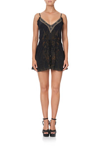 V NECK SHOESTRING STRAP PLAYSUIT COBRA KING