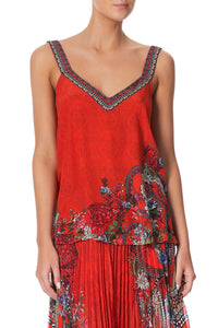 V-NECK STRAP TOP WONDERING WARATAH