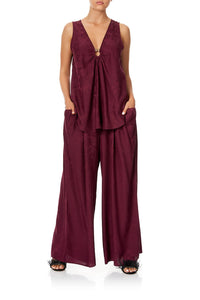 CAMILLA WIDE STRAP U-RING TOP BURGUNDY